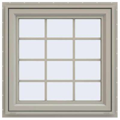 29.5 in. x 29.5 in. V-4500 Series Awning Vinyl Window with Grids - Tan