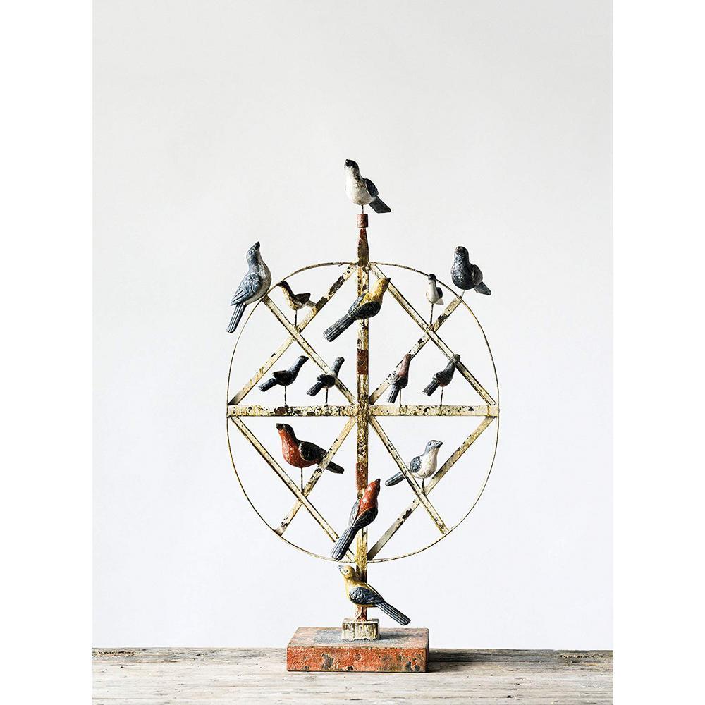 Secret Garden 33-1/2 in. Metal/Magnesia Bird Decor