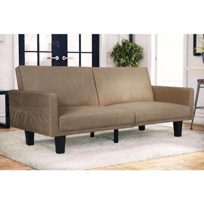 metro tan futon futon   living room furniture   furniture   the home depot  rh   homedepot