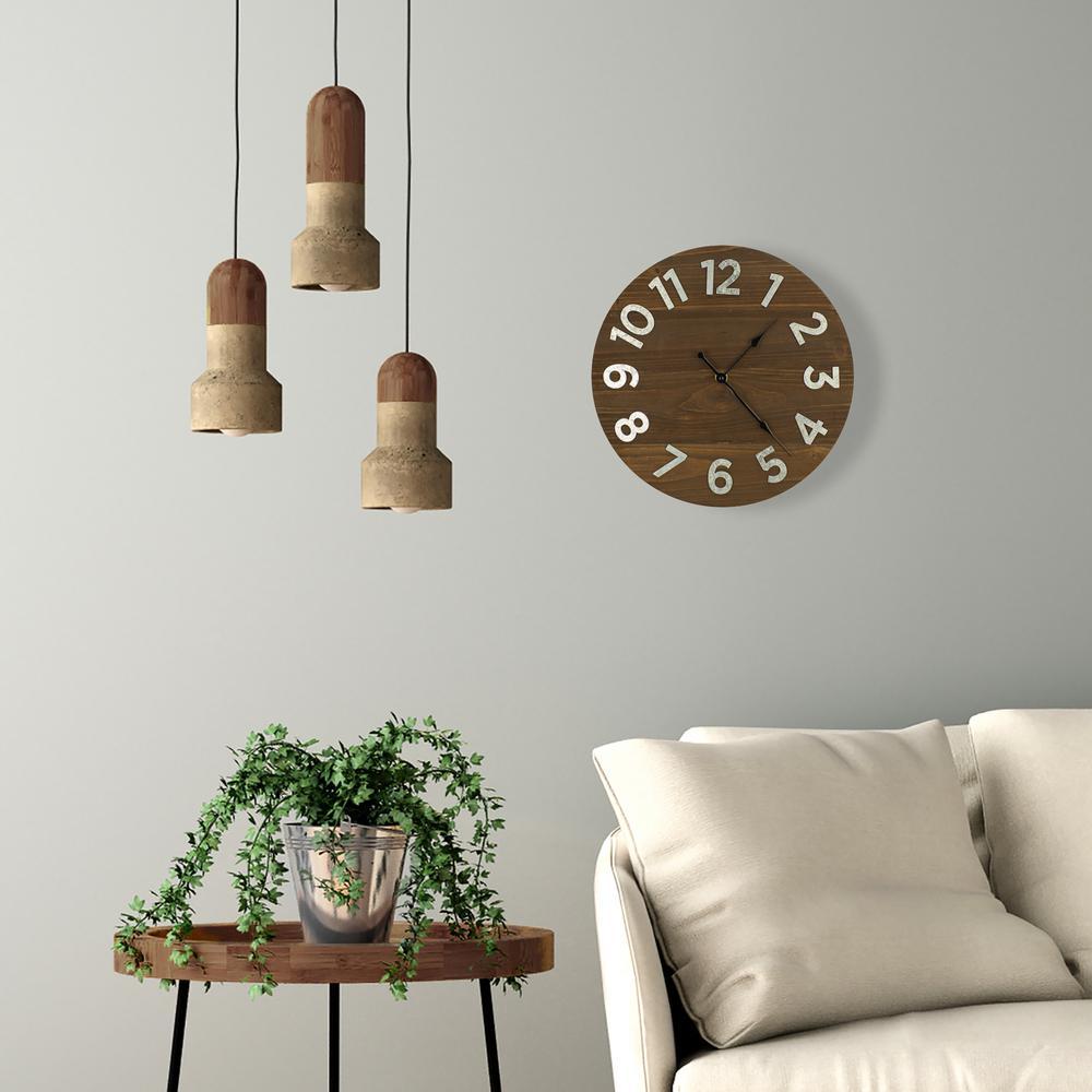 Plank Galvanized Metal Numbers Brown Wall Clock