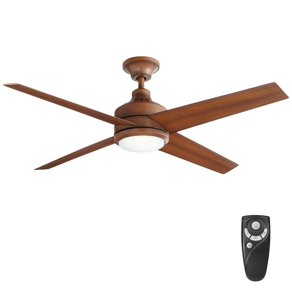 Home Decorators Collection Mercer 52 In LED Indoor Distressed Koa Ceiling Fan With Light Kit And Wall Control Remote 54728