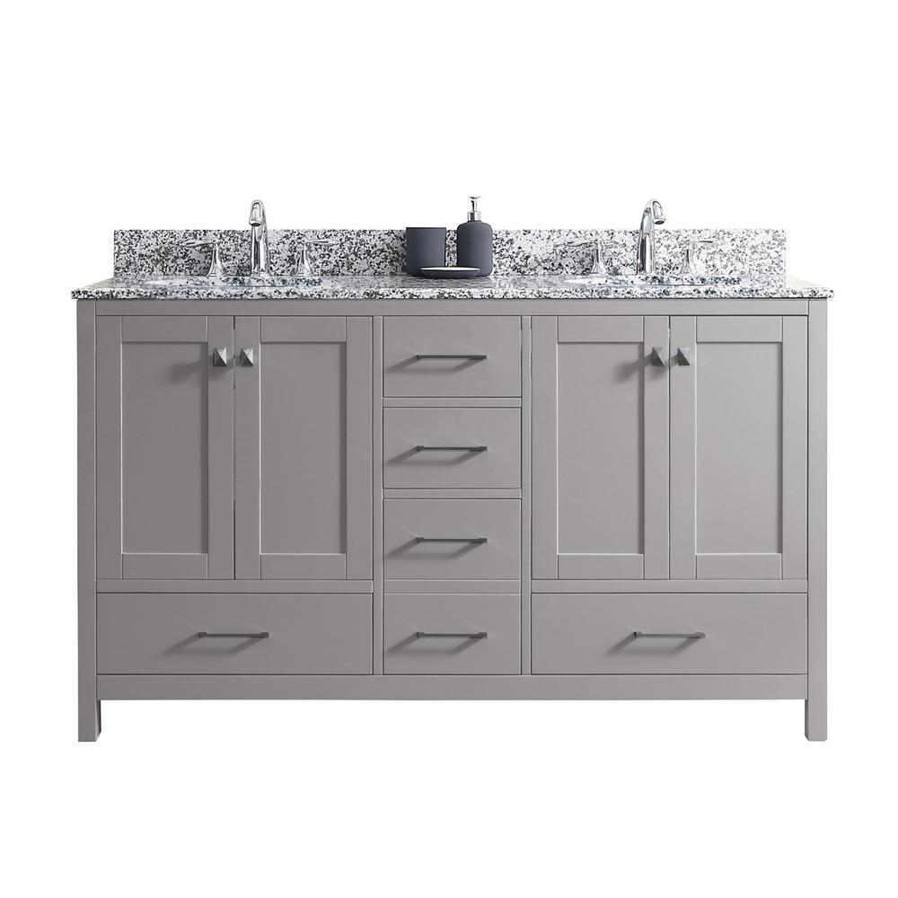 Virtu USA Caroline Madison 60 in. W Bath Vanity in Cashmere Gray with Granite Vanity Top in Arctic White Granite with Round Basin