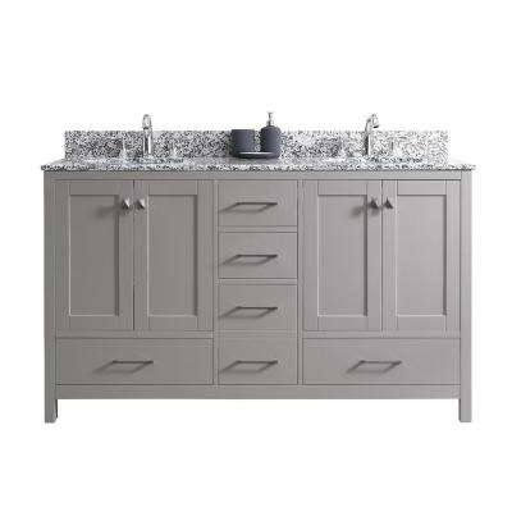 Caroline Madison 60 in. W Bath Vanity in Cashmere Gray with Granite Vanity Top in Arctic White Granite with Round Basin