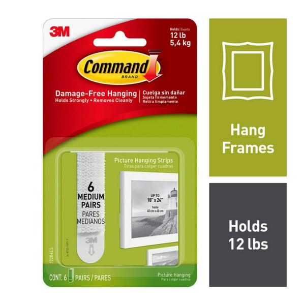 3 lb. Medium Picture Hanging Strips (6 sets of Adhesive Strips)