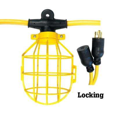 100 ft. 12/3 SJTW 10-Light Plastic Cage Light String with Locking Connector - Yellow