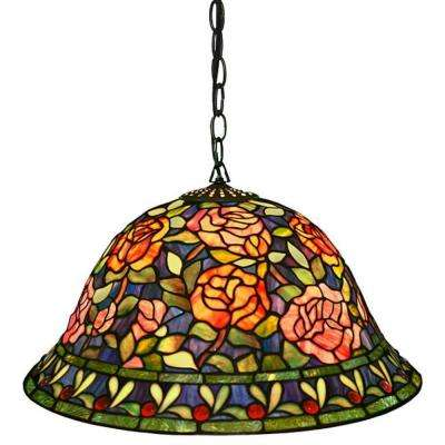 Southern Rose Belle 2-Light Multicolored Brown Hanging Lamp