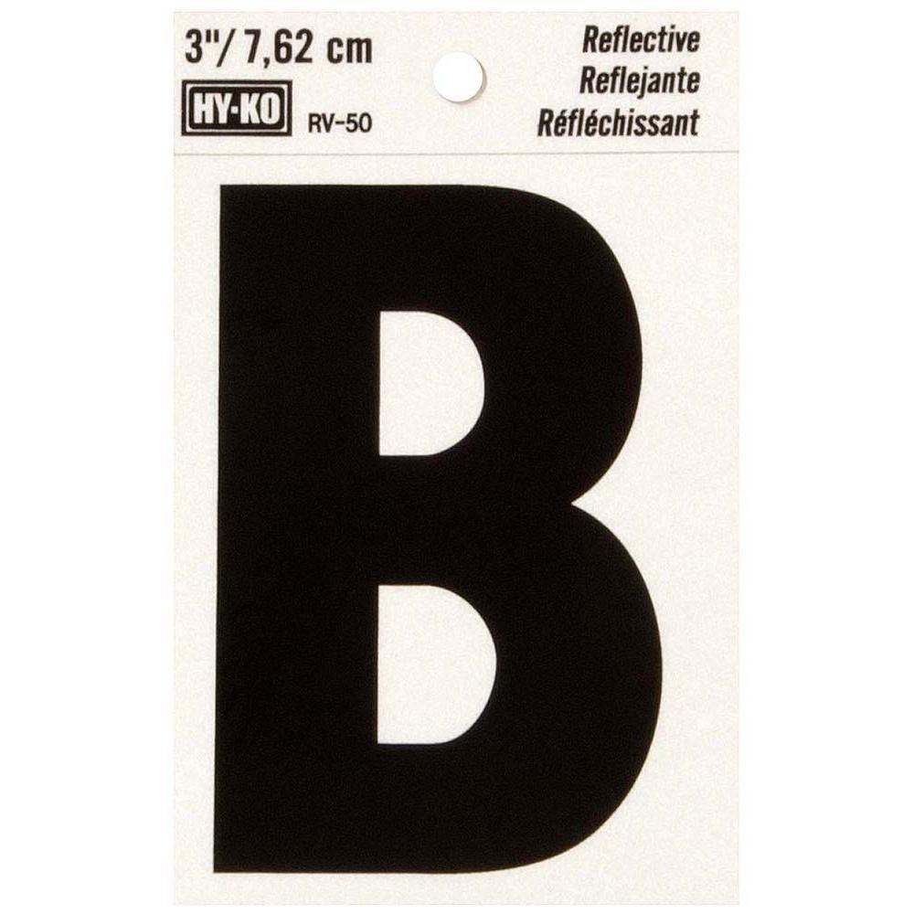 HY-KO 3 in. Self-Adhesive Reflective Vinyl Letter B-RV-50 ...
