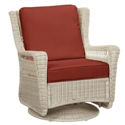 Park Meadows Off-White Wicker Outdoor Patio Swivel Rocking Lounge Chair with Sunbrella Henna Red Cushions