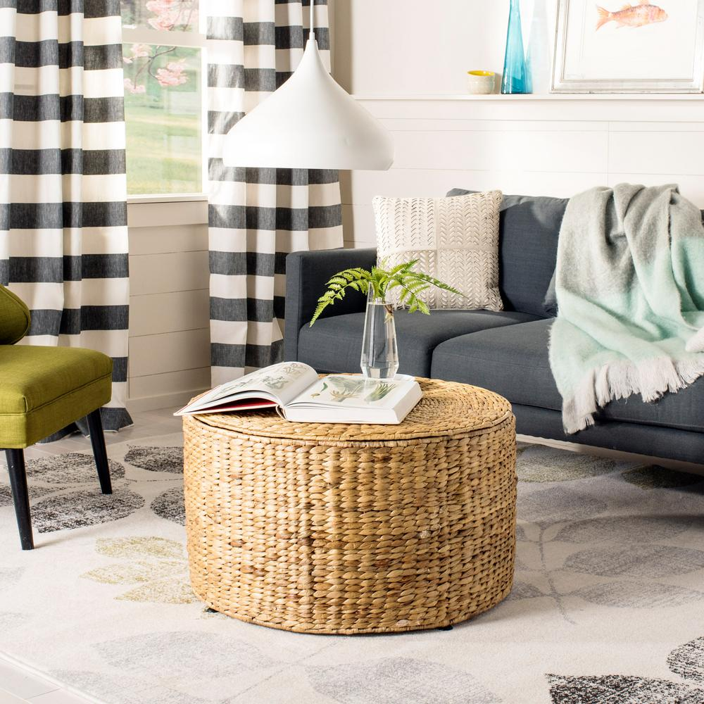 Natural Coffee Tables: Safavieh Jesse Wicker Storage Natural Coffee Table