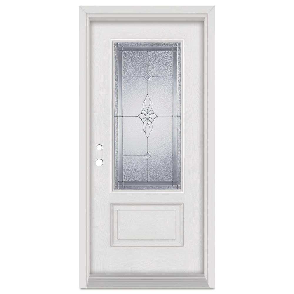 Stanley Doors 33.375 in. x 83 in. Victoria Right-Hand Zinc Finished Fiberglass Mahogany Woodgrain Prehung Front Door Brickmould