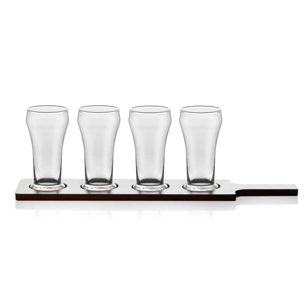 Libbey Craft Brews 6 Oz Beer Flight Glass Set With Wooden Carrier
