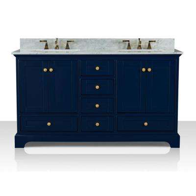 Audrey 60 in. W x 22 in. D Bath Vanity in Heritage Blue w/ Marble Vanity Top in White w/ White Basin and Gold Hardware