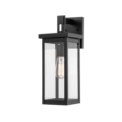 1-Light Powder Coat Black Outdoor Wall-Light Sconce with Clear Glass