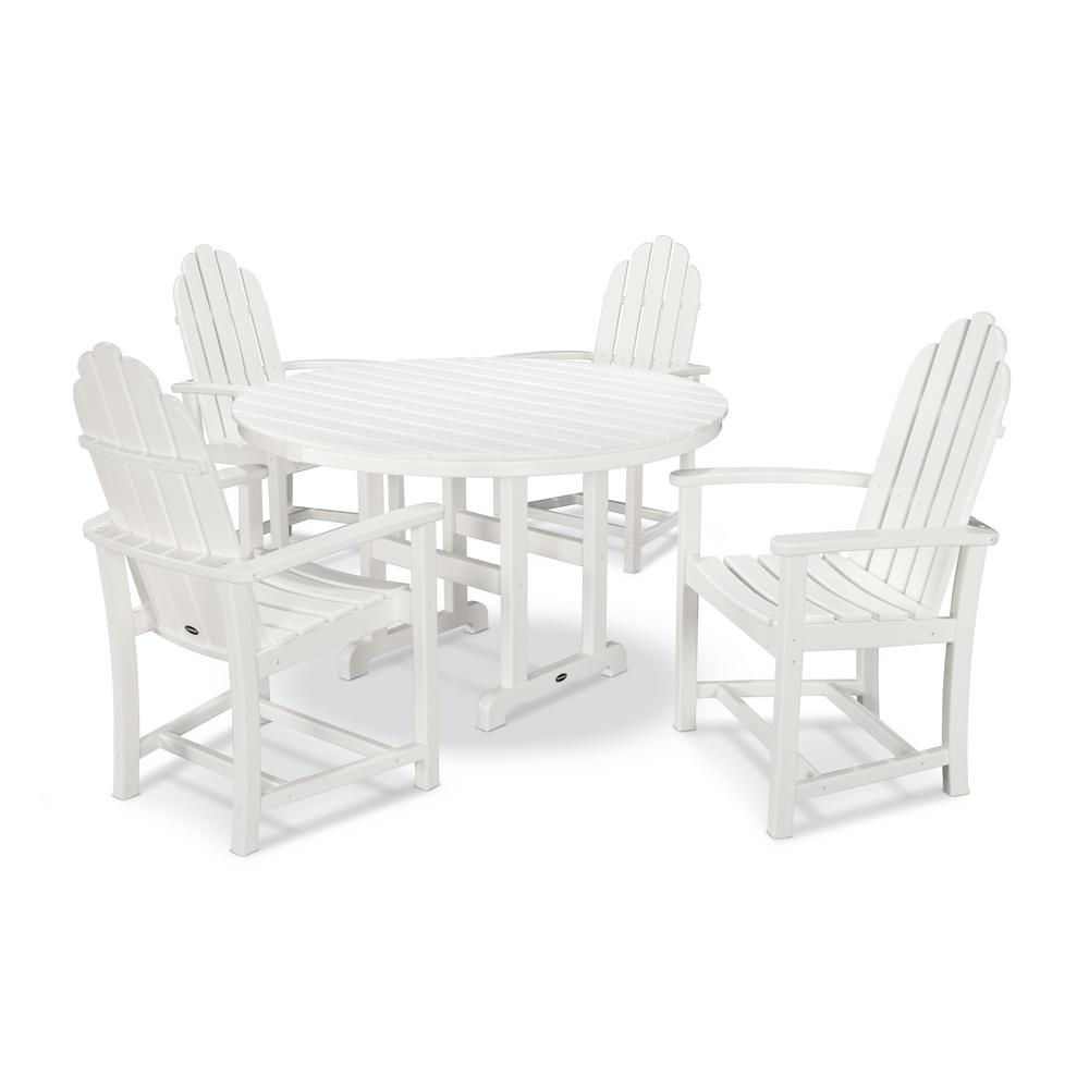 Classic Adirondack 5 Piece Outdoor Dining Set In White