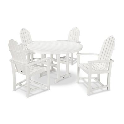 Classic Adirondack 5-Piece Outdoor Dining Set in White