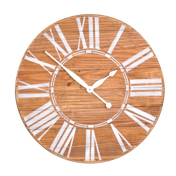 BrandtWorks Oversized Brown Farmhouse Wall Clock 24LBWHJUP