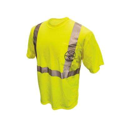 Men's Size Small High Visibility Green Cotton/Poly Short Sleeved T-Shirt