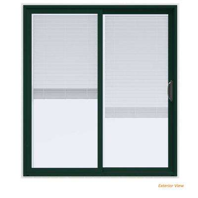 72 in. x 80 in. V-4500 Contemporary Green Paint Vinyl Right-Hand Full Lite Sliding Patio Door w/White Interior & Blinds