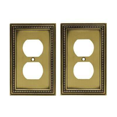 Beaded Decorative Single Duplex Outlet Cover, Tumbled Antique Brass (2-Pack)