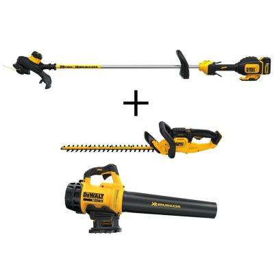 13 in. 20-Volt Li-Ion Electric Cordless Brushless Dual Line String Grass Trimmer Bonus Bare Hedge Trimmer and Blower
