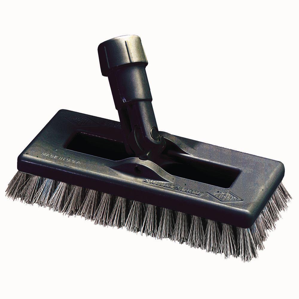 Carlisle 8 inch Swivel Scrub Brush in Black Bristles (Case of 12) by Carlisle
