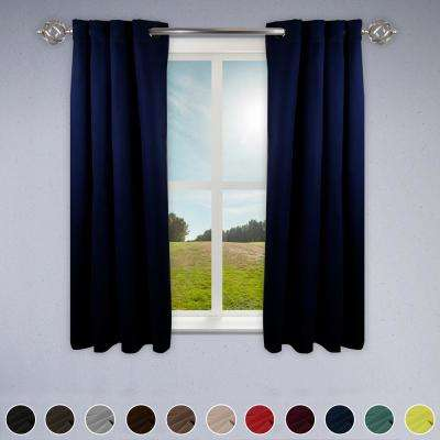 Heavy Duty Drapery 52 in. W x 63 in. H Panel in Dark Blue