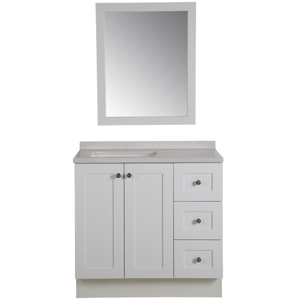 Bannister 36 in. W Bathroom Vanity in White with Solid Surface Vanity Top in Titanium with White Sink and Mirror
