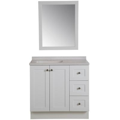 Glacier Bay Bannister 36 In W Bathroom Vanity In White With Solid Surface Vanity Top In Titanium With White Sink And Mirror Home Depot Inventory Checker Brickseek