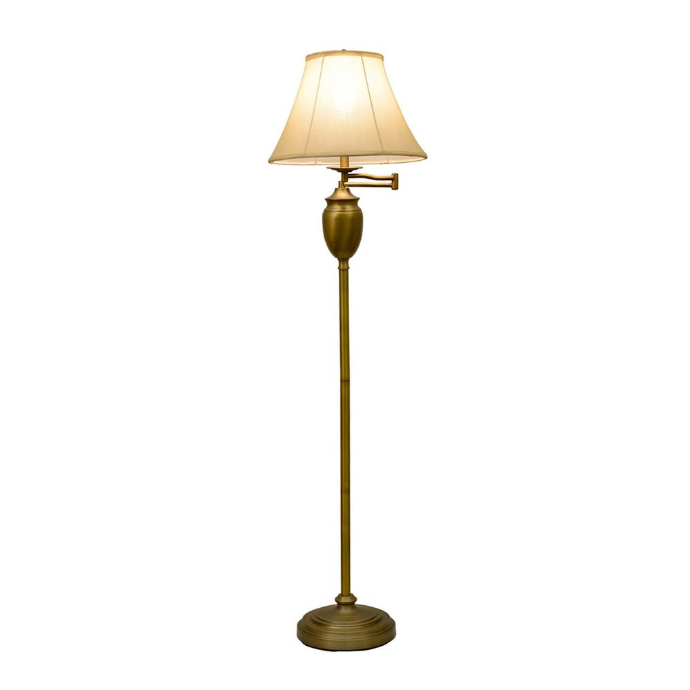 Octavia Floor Lamp Brass: Arne 1-Light Black Swing Arm Light-93790BL