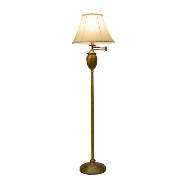 Decor Therapy Wellington 59 In Antique Brass Floor Lamp With Faux Silk Shade Pl1598 The Home Depot