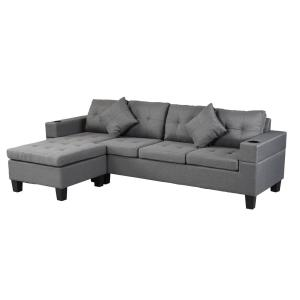 Boyel Living 2-Pcs 4-Seater L-Shaped Chaise Sectional Sofa