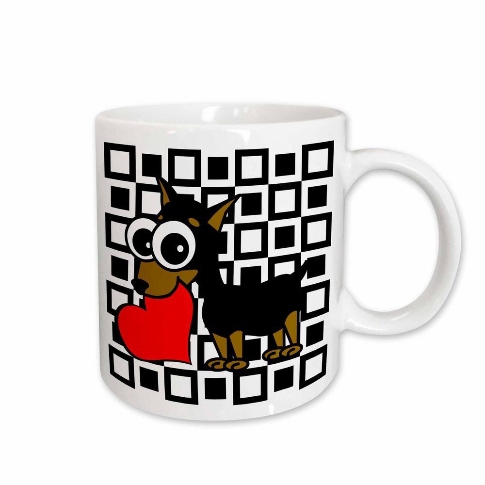 Janna Salak Designs Dogs 11 oz. White Ceramic Miniature Pinscher Has My Heart Mug