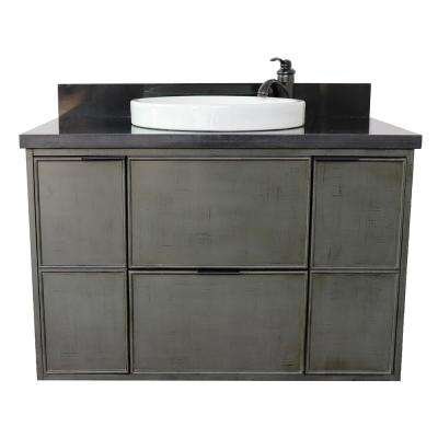 Scandi II 37 in. W x 22 in. D Wall Mount Bath Vanity in Gray with Granite Vanity Top in Black with White Round Basin