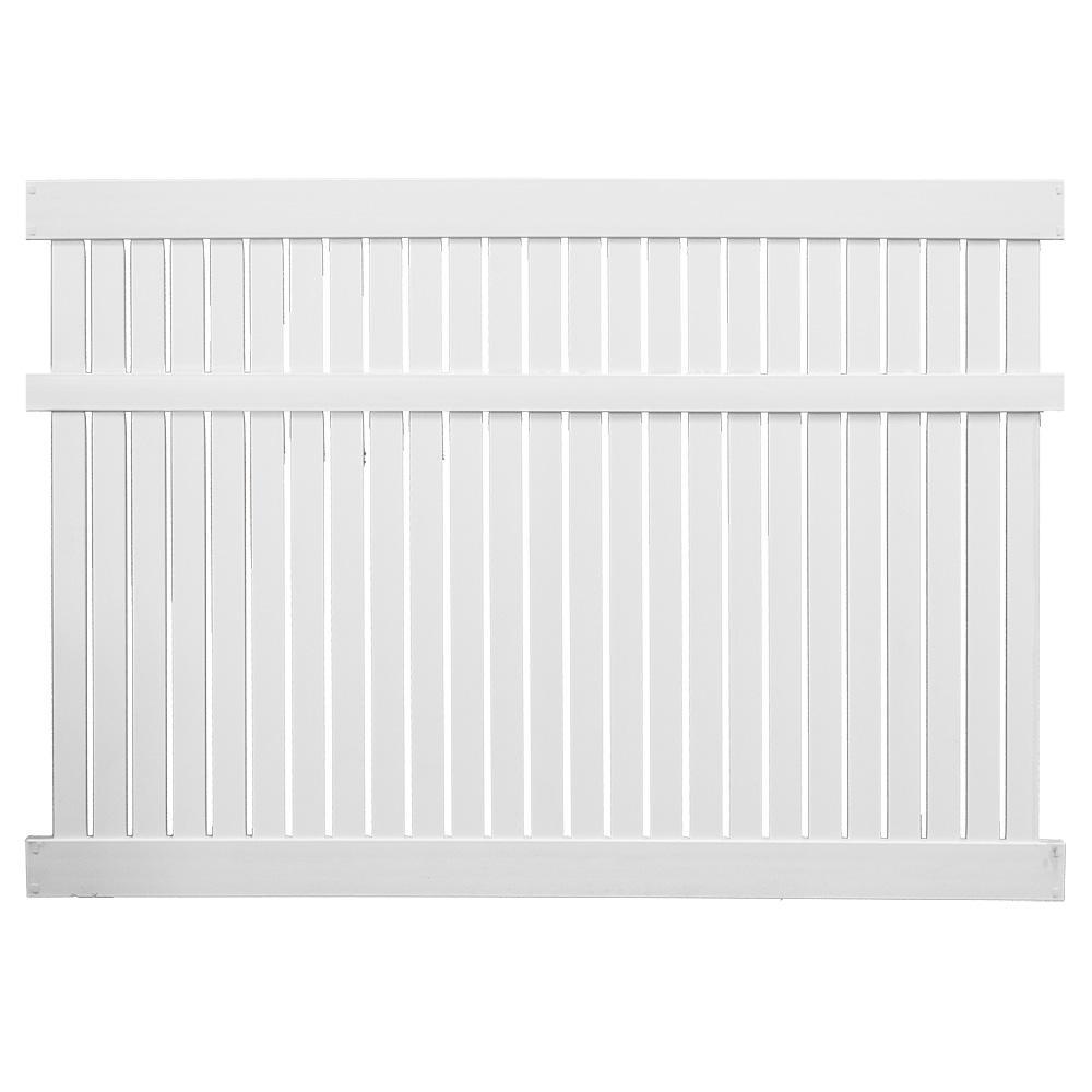 Huntington 6 ft. H x 8 ft. W White Vinyl Semi-Privacy Fence Panel