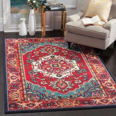 Monaco Red/Turquoise 9 ft. x 12 ft. Area Rug