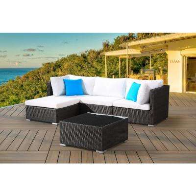 FRESCO 5-Piece All-Weather Charcoal Wicker Patio Sectional Set with Off-White Cushions