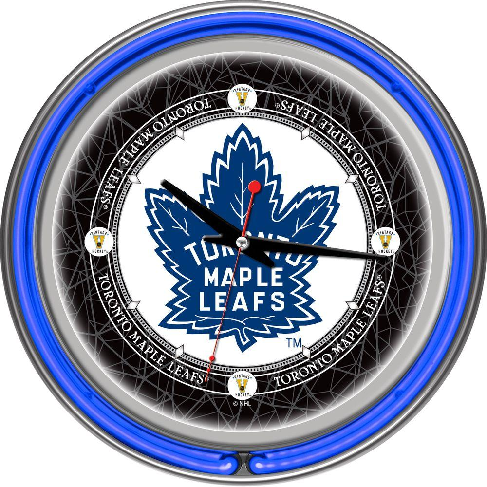 new style 8958a 26fe1 14 in. Vintage Toronto Maple Leafs NHL Neon Wall Clock