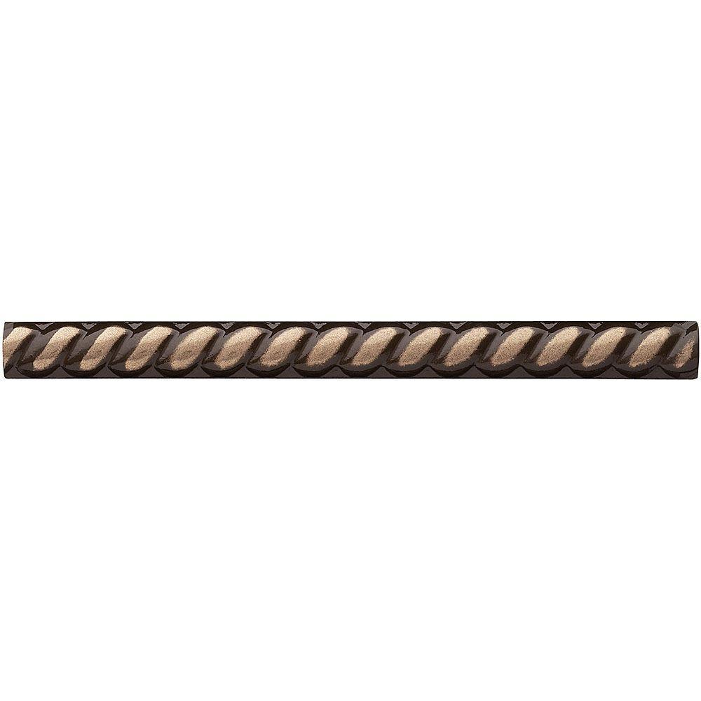 Weybridge 1/2 in. x 6 in Cast Metal Rope Liner Classic Bronze Tile (18 pieces / case)