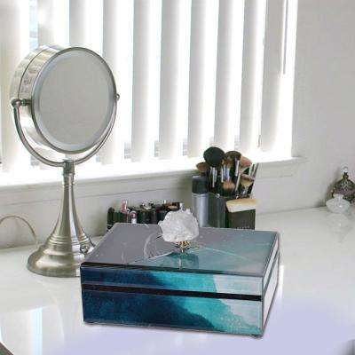 Well Designed Glass Box With Stone Knob, Blue