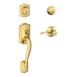 Schlage Camelot Bright Brass Double Cylinder Deadbolt with Right Handed Accent... by Schlage