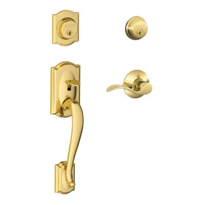 Camelot Bright Brass Double Cylinder Deadbolt with Right Handed Accent Lever Door Handleset