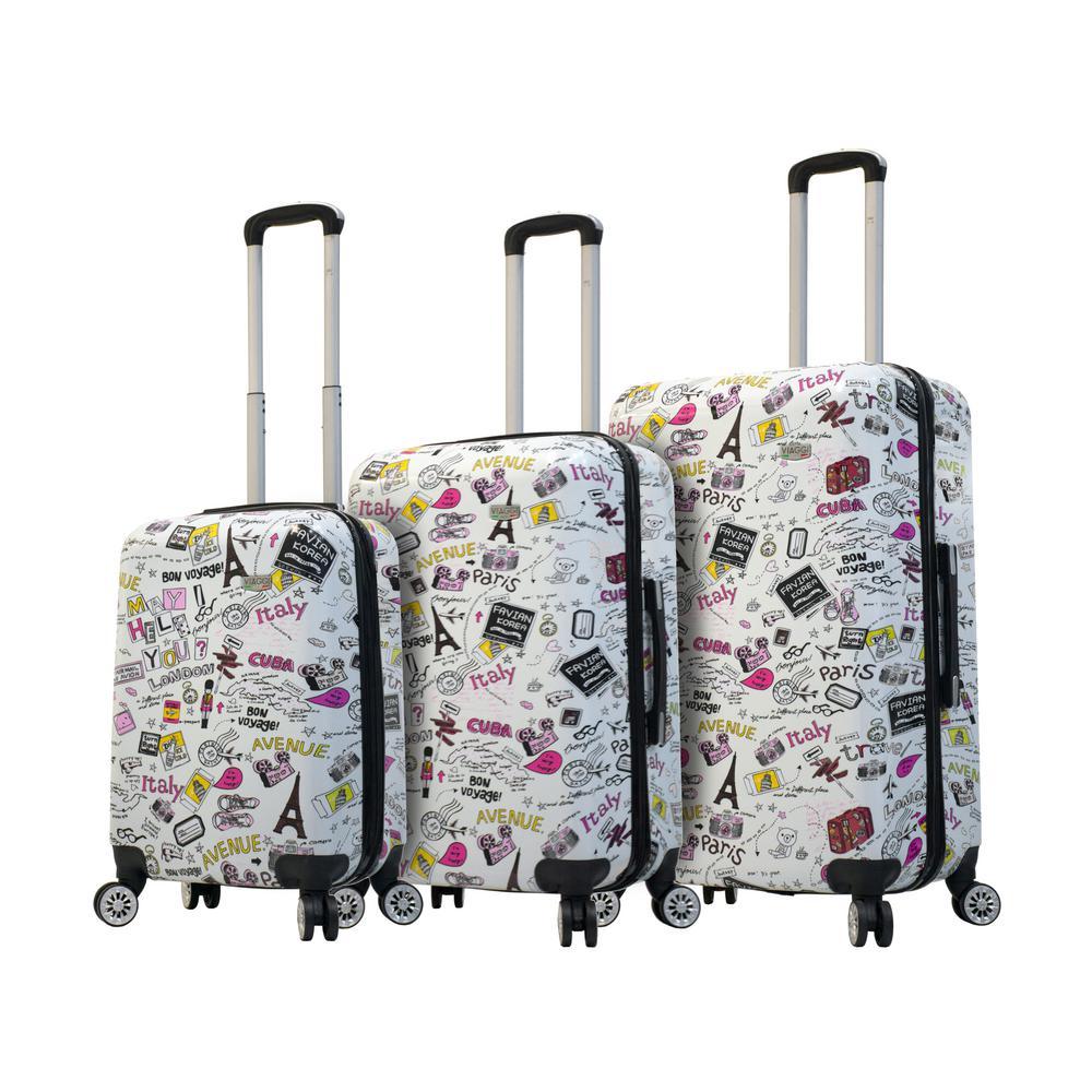 Designer Art 3-Piece Vintage Traveler Hardside Spinner Luggage Set