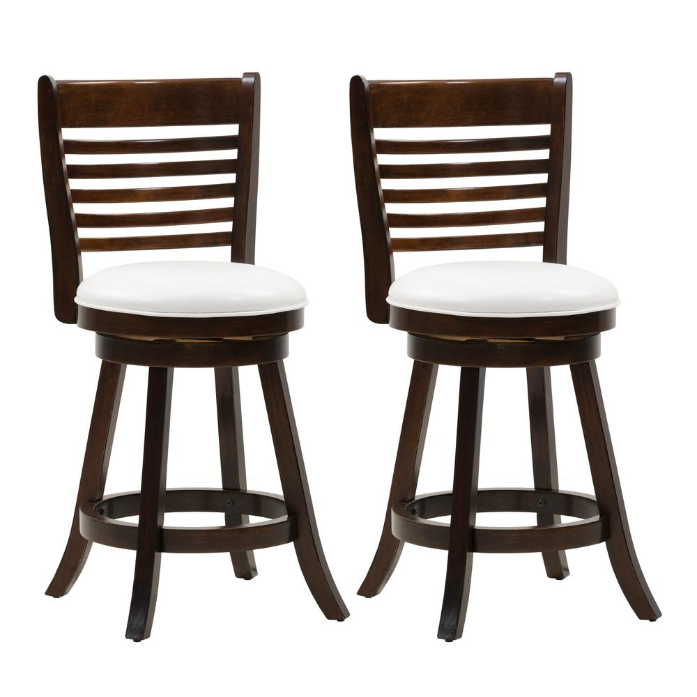 Corliving 24 In Counter Height Wood Swivel Bar Stools With White Leatherette Seat And 6 Slat Backrest Set Of 2 Dwg 914 B The Home Depot