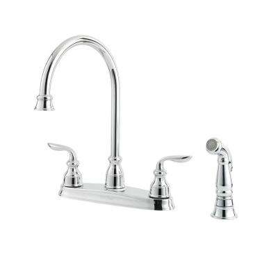 Avalon 2-Handle Standard Kitchen Faucet with Side Spray in Polished Chrome