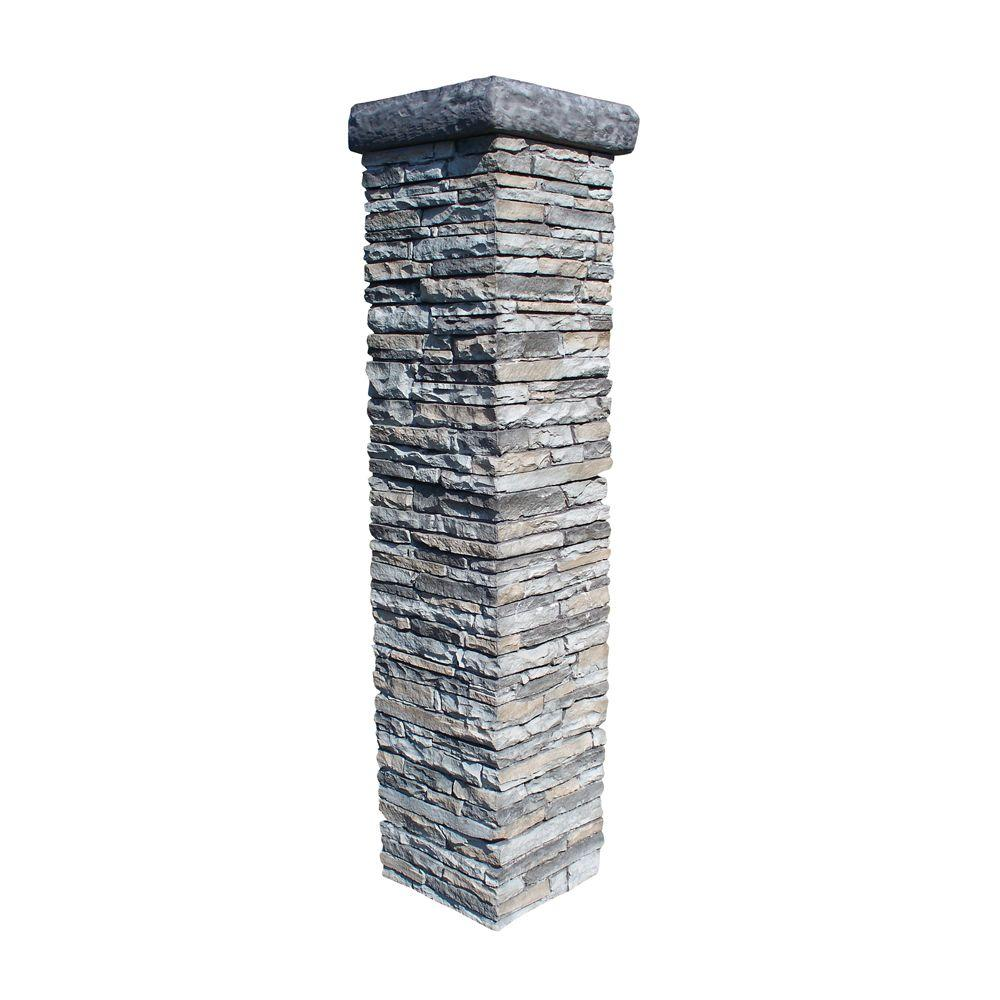 Eye Level Stacked Stone 65 In. x 21 In. x 21 In. Gray Column, Includes Blue Stone 21 In. Flat Cap-DISCONTINUED