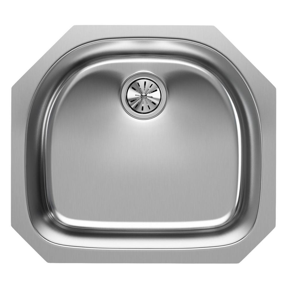 Elkay Undermount Stainless Steel 24 In. Rounded Single Bowl Kitchen Sink