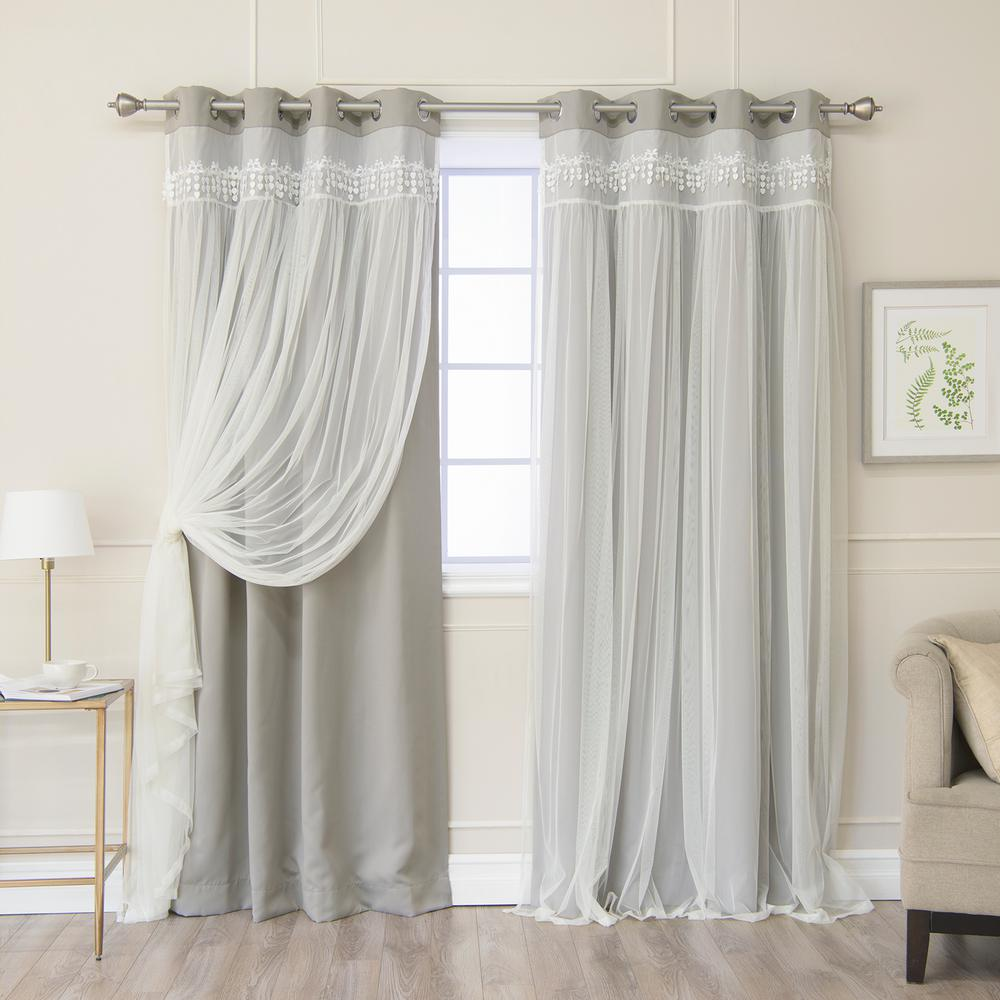 Best Home Fashion Dove 96 in. L Elis Lace Overlay Blackout Curtain Panel (2-Pack)