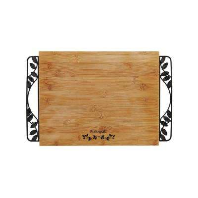 Rustic Leaf Cutting Board with Metal Handles