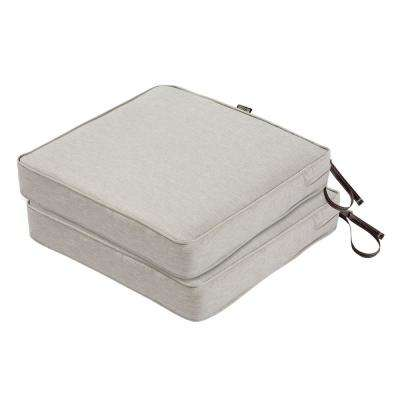 Montlake FadeSafe 19 in. L x 19 in. W x 3 in. T Heather Grey Square Outdoor Seat Cushion (2-Pack)
