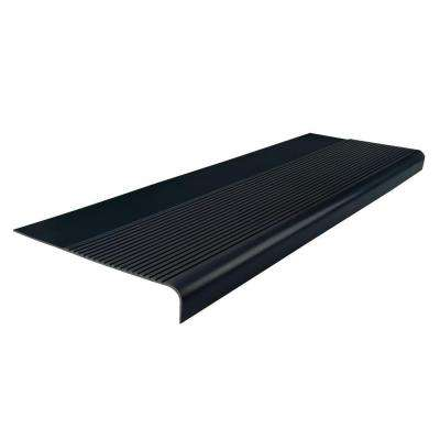 Ribbed Profile Black 12-1/4 in. x 48 in. Round Nose Stair Tread
